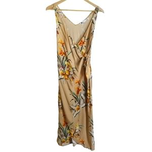 & OTHER STORIES Mustard Floral Wrap Midi Dress